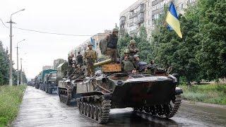 Колонна Воздушно десантных войск Украины (Краматорск 08.07.2014)