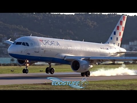 Strong Crosswind Landing - Croatia Airlines Airbus A320-214 - Split Airport LDSP/SPU