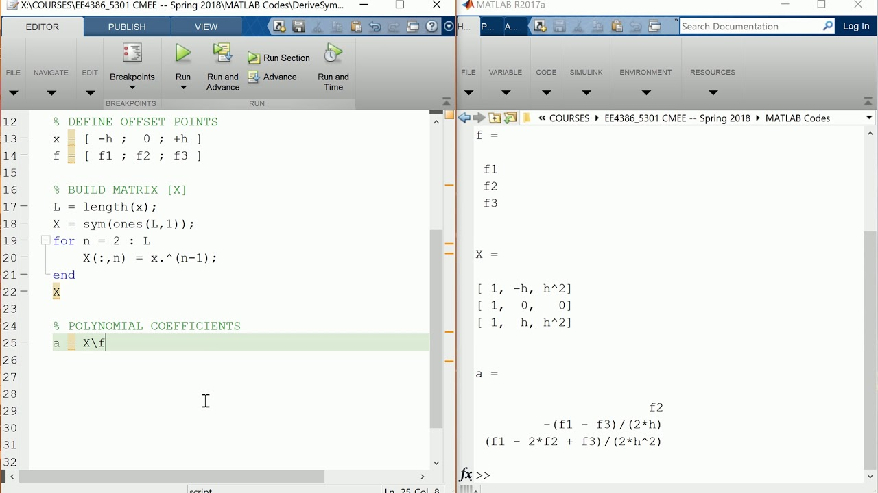MATLAB Session -- Deriving finite-difference approximations