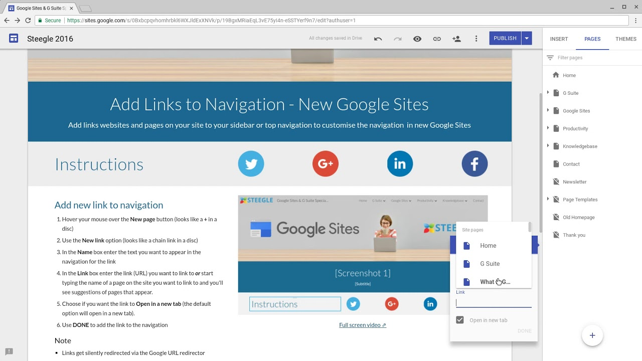 Add Links To Navigation New Google Sites Youtube