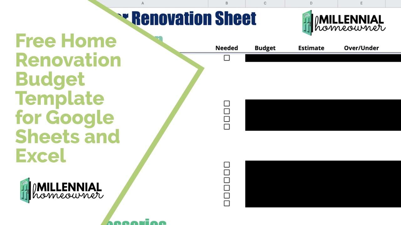 Free Home Renovation Budget Template January 2021 Millennial Homeowner