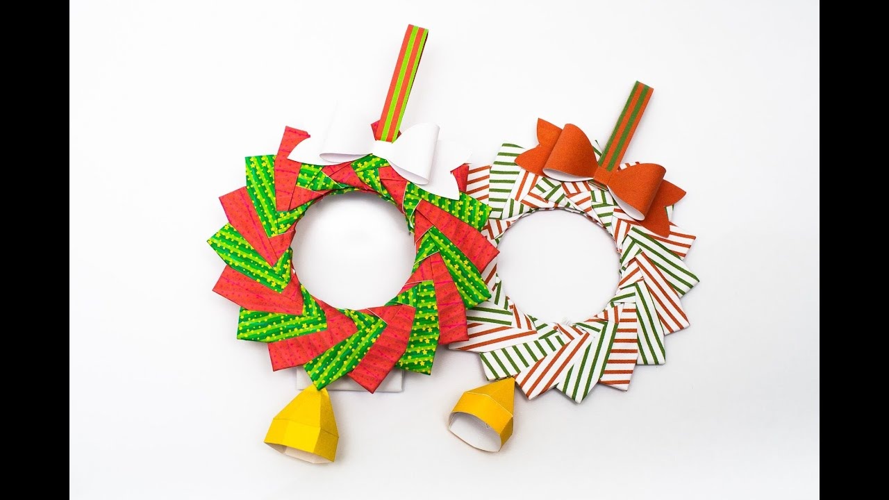 Christmas origami wreath -  Christmas Wreath Origami And Papercraft Youtube