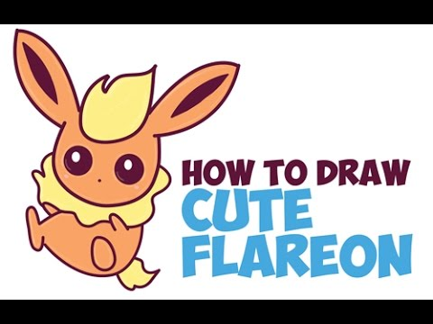 How To Draw Flareon From Pokemon Step By Step Cute Kawaii Baby