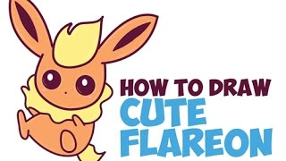 How to Draw Flareon from Pokemon Step by Step (Cute / Kawaii / Baby / Chibi) Easy for Kids