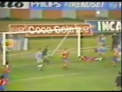 COPA LIBERTADORES 1990 SPORTING CRISTAL  U.CATOLICA, ARQUERO GUSTAVO GONZALES, BARRA FUERZA ORIENTE