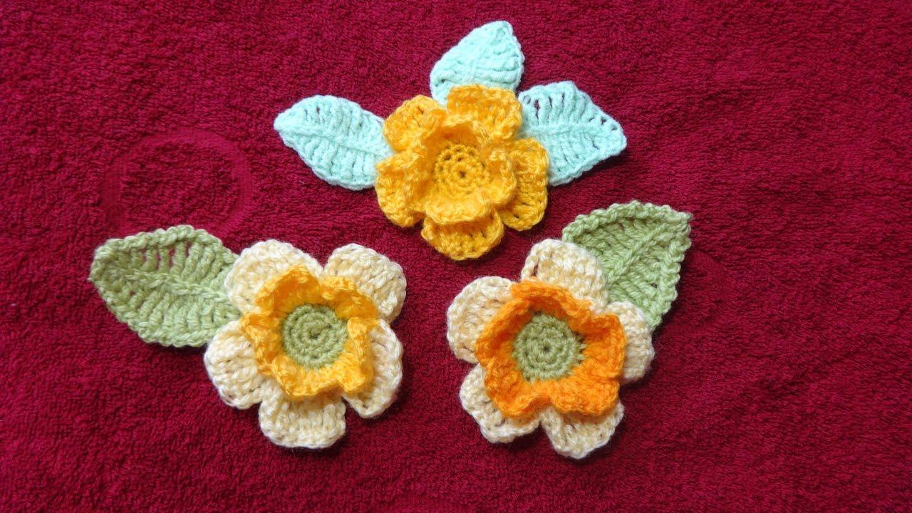вязание цветочка с листочком украшение моделей вязание крючком Youtube