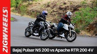 Bajaj Pulsar NS 200 vs Apache RTR 200 4V | Zigwheels.com