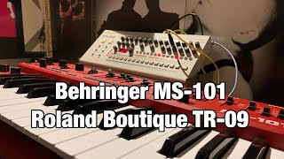 Behringer MS-101 & Roland Boutique TR-09 EBM Style (external trigger sync)