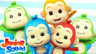 Five Little Monkeys Jumping On The Bed | Nursery Rhymes and Baby Songs | Junior Squad