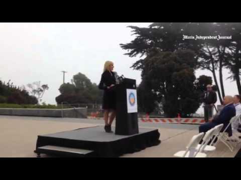 #GoldenGateBridge board member Janet Reilly addresses suicide barrier on span.