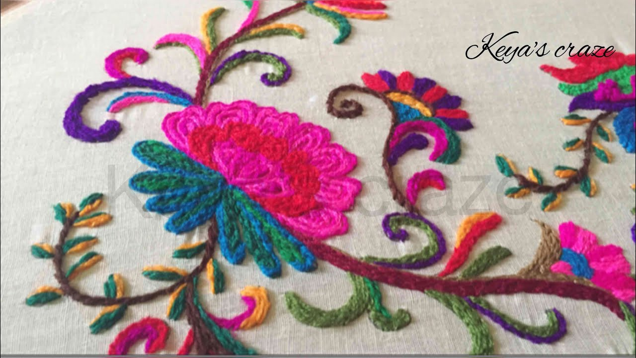 Kashmiri kashida embroidery part with drawing keya s