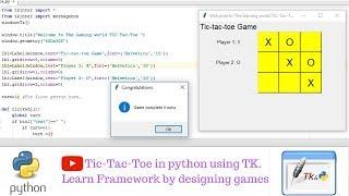 Tic-Tac-Toe in python using Tkinter   Game Development   Python