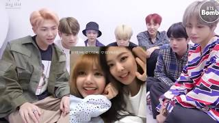 BTS reaction to Blackpink lisa and jennie focus on cute humor