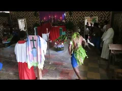 kastom dancing in church, Solomon Islands