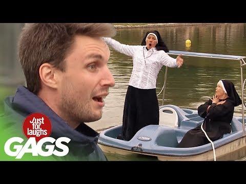Versteckte Kamera - Nonne fällt ins Wasser