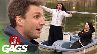 Nun Falls in a Pond Prank - Just For Laughs Gags