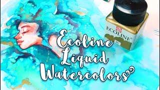 ECOLINE Liquid Watercolors + Painting in a SKETCHBOOK!  - MissKerrieJ -