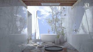 Un baño sofisticado que se fusiona con el exterior