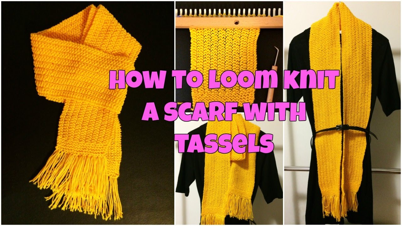 How To Loom Knit A Scarf with Tassels - Mock Rib Stitch - YouTube