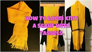 How To Loom Knit A Scarf with Tassels - Seed Stitch
