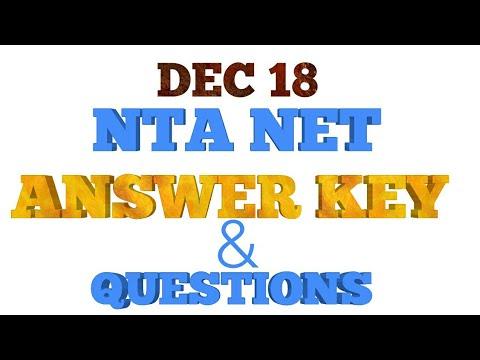 NTA NET ANS KEY, 2018, 18 DEC