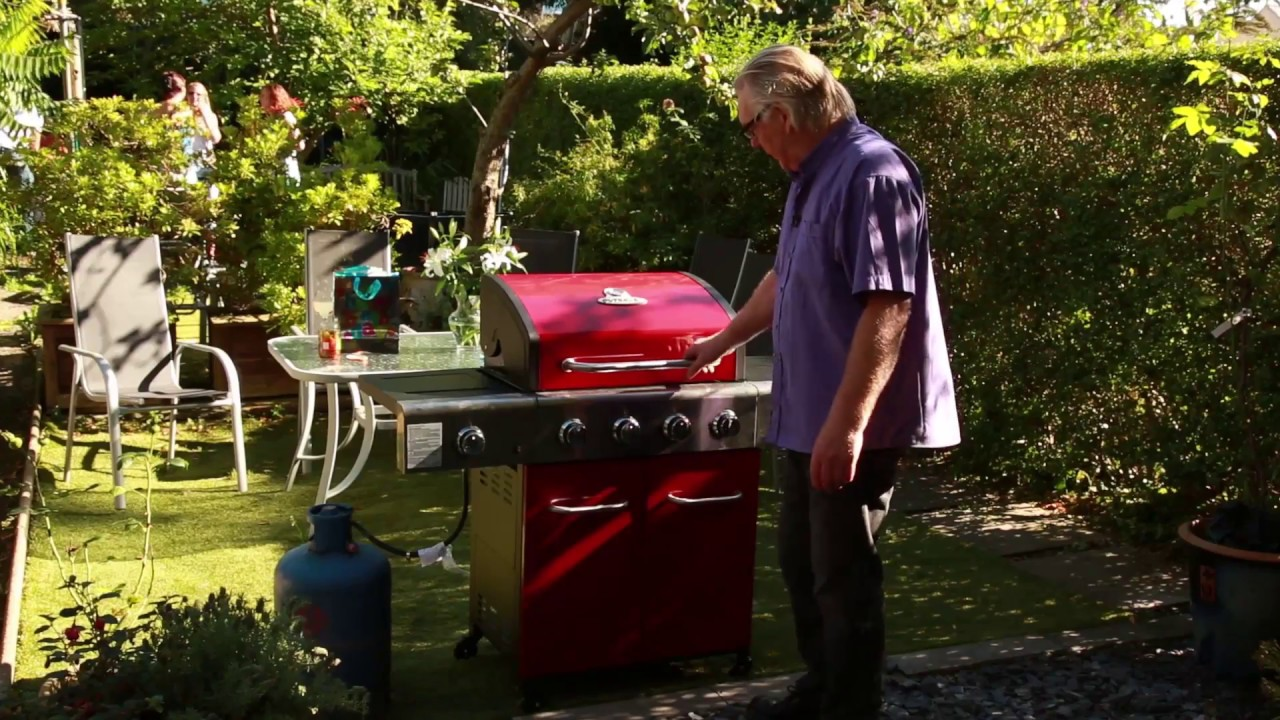 homebase outback apollo 4 burner gas bbq in red self assembly