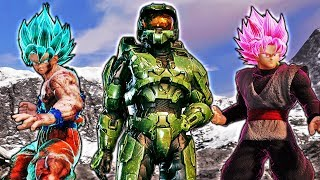HALO TEAMS UP WITH GOKU?! Jump Force Master Chief Vs Goku, Naruto, and Luffy Gameplay
