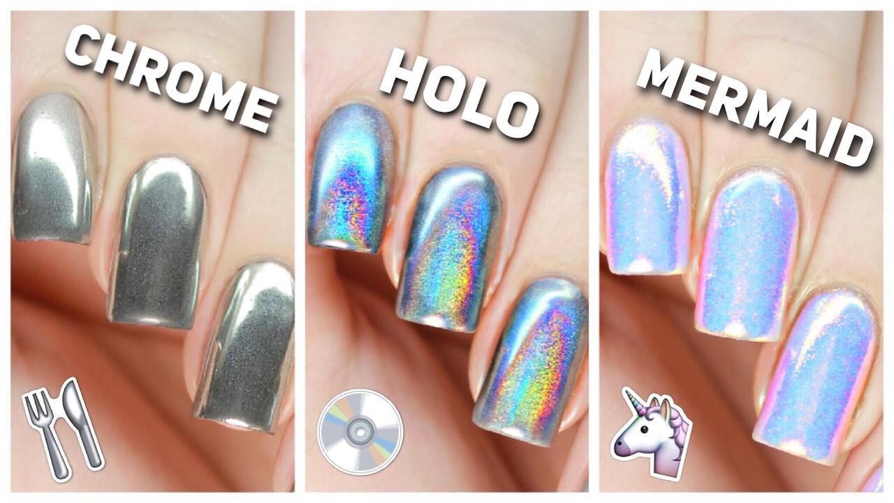 apply chrome holo & mermaid nail