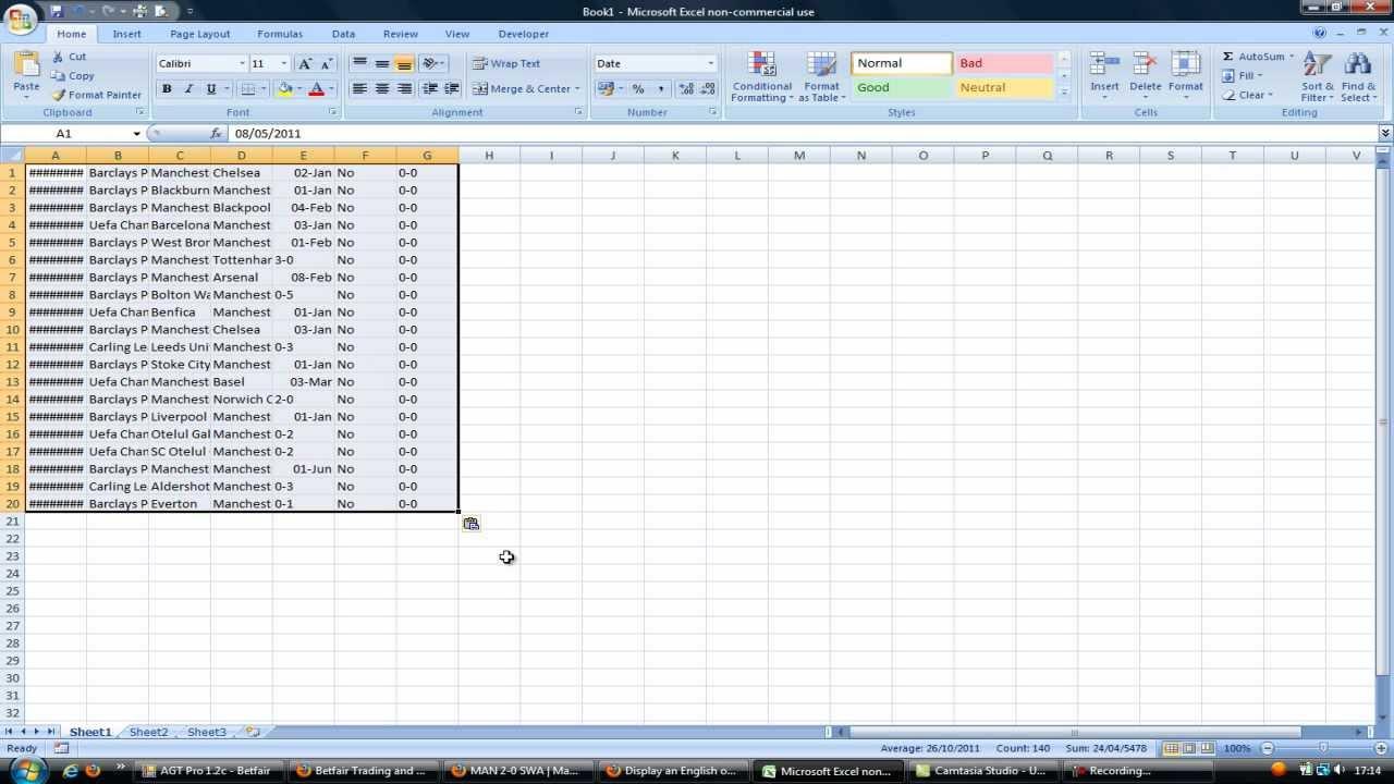 Football Data / Excel