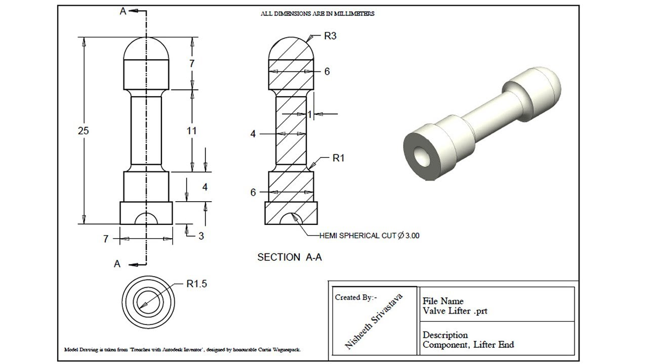 Valve Lifter Practice Exercise Drawing Sheet By Creo