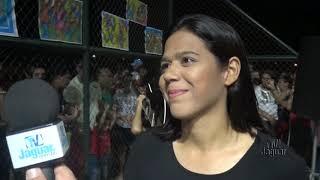 Carine Fernandes aponta os objetivos sociais do programa dance na prana no Parque urbanizado do Pontal