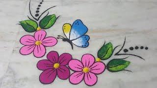 Butterfly & flower rangoli,painting effect rangoli,muruja,jhoti kolam,New year rangoli,3D rangoli