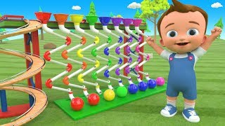 Color Balls Zig Zag Pipes Wooden Toy Set 3D Little Baby Fun Learning Colors for Children Kids Edu