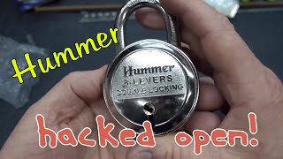 (1398) Hummer 8-Lever Padlock Picked & Cut Open