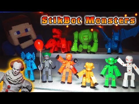 STIKBOT MONSTERS  SET Toy UNBOXING w Pennywise It Clown
