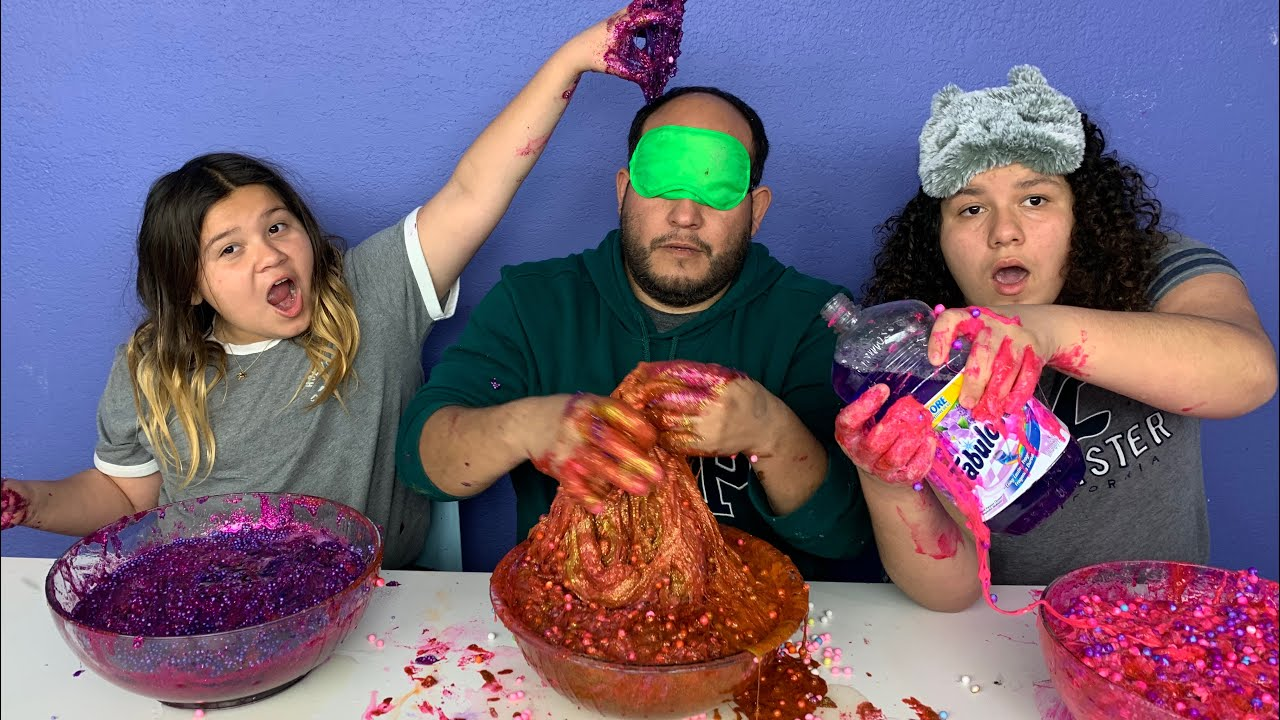 Slime Mary Izzy: IZZY & MARY CHEATED!!! Blindfolded Slime Challenge!