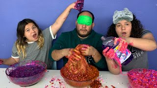 IZZY &amp MARY CHEATED!!! Blindfolded Slime Challenge!