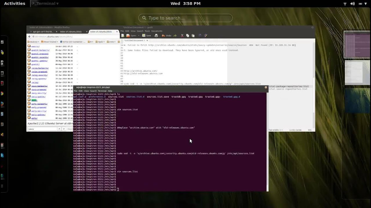 some index files failed to download. they have been ignored or old ones used instead. ubuntu