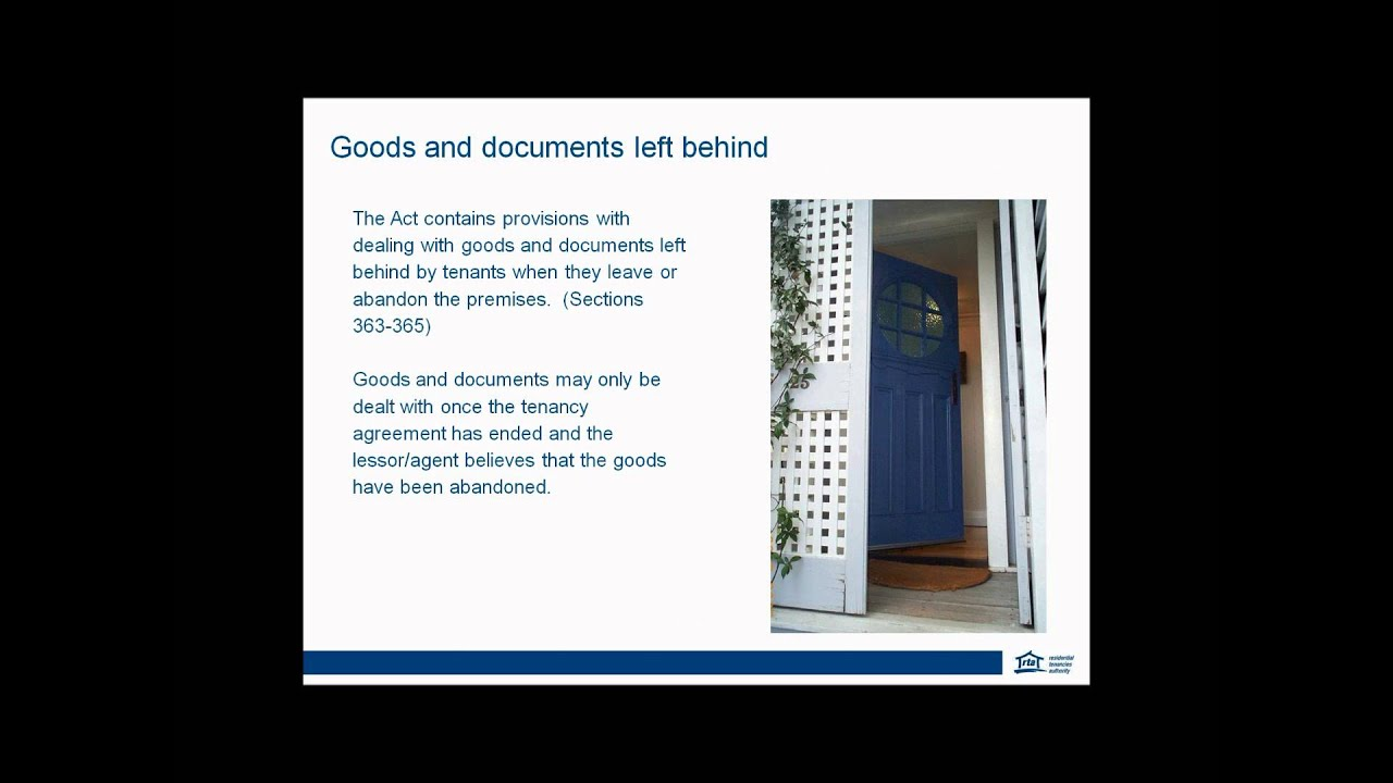 Rta Tenancy Webinar Lease Break Abandonment And Goods Left Behind