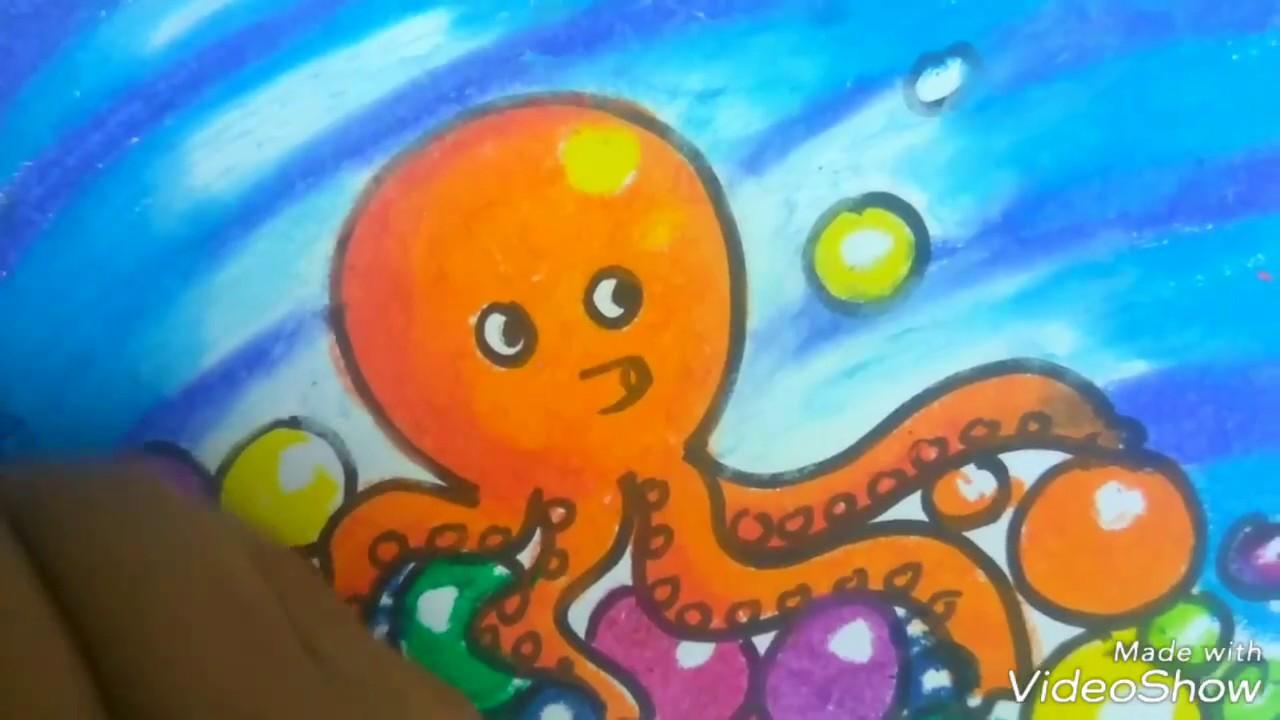 Gampangcara Menggambar Dan Mewarnai Gurita Octopus Drawing Youtube