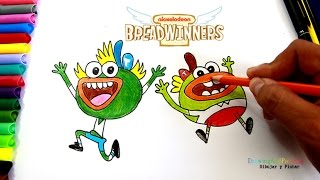 How to Draw SWAY SWAY & BUHDEUCE Breadwinners Nickelodeon | Dibujar Sway Sway y Buhdeuce