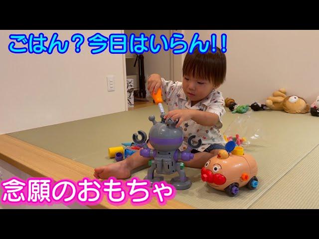 ずっと欲しかったアンパンマンのおもちゃをもらって遊び続けるw男女双子生後2歳7ヶ月