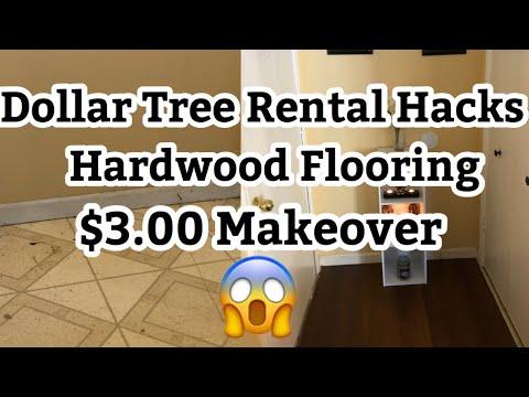 Dollar Tree Rental Hack  DIY HARDWOOD FLOORING   VERY DETAILED 