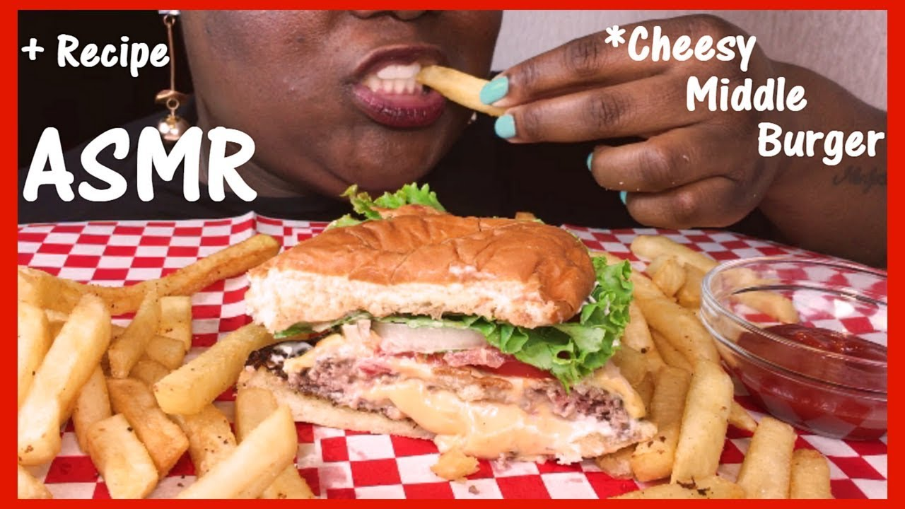 Asmr Cheesy Middle Burger Cooking And Eating Sounds No Talking