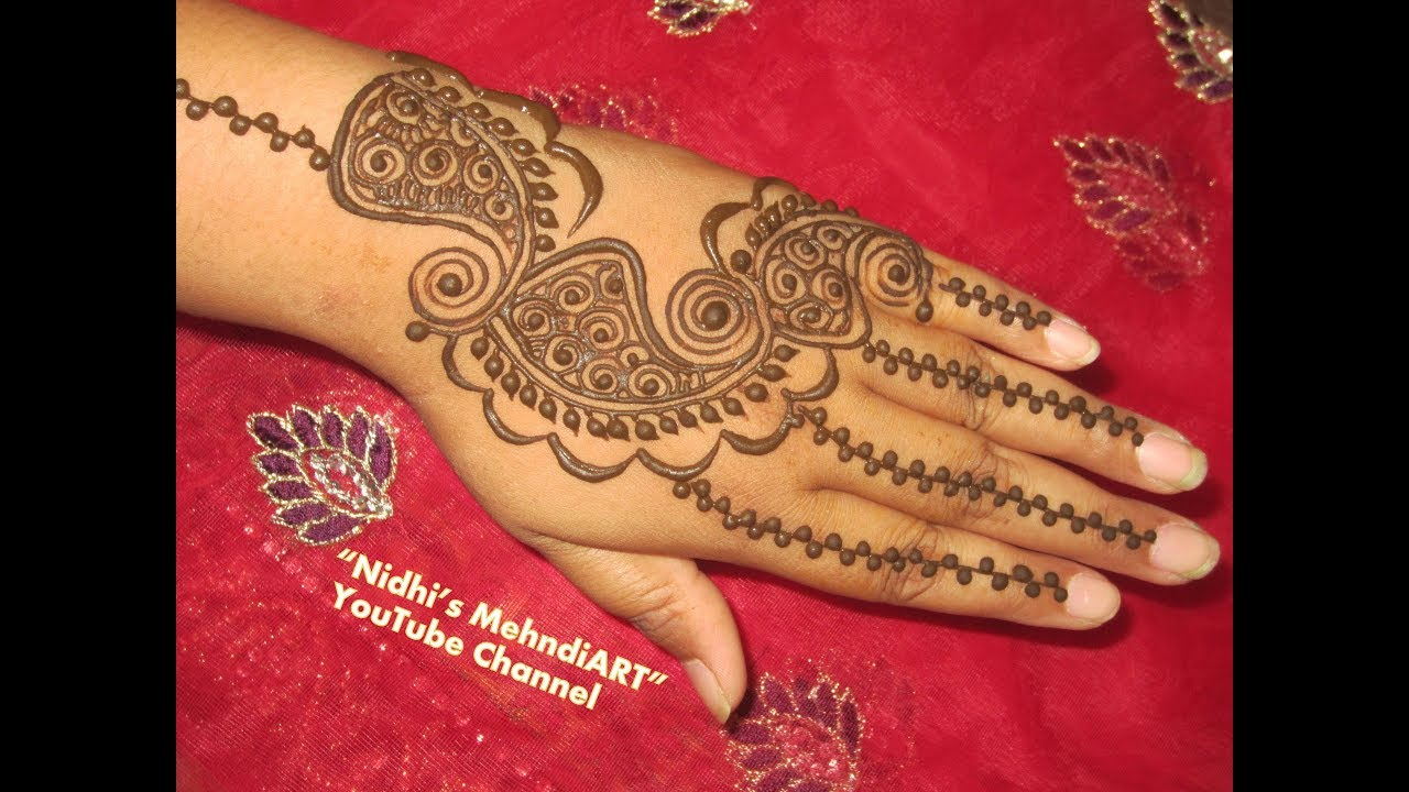 3fbc192a5 Simple Paisley Shaped Arabic Mehndi Design for Back Hand - YouTube