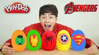 마슈랑 슈퍼히어로 서프라이즈 에그 까기!! Play-doh Superhero Surprise Eggs Opening With Mashu!!-마슈토이 Mashu ToysReview