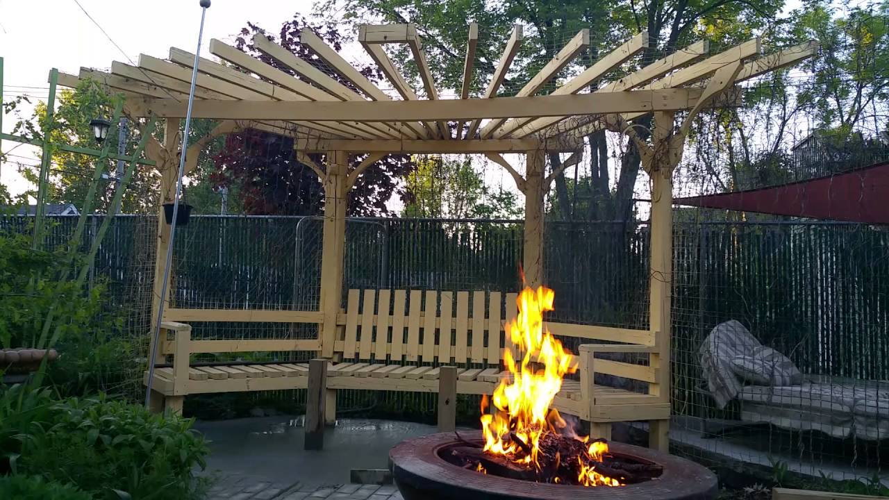Fire pit pergola - YouTube