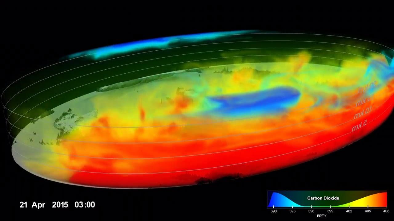Vídeo mostra imagens de satélites com concentração de gases de efeito estufa na atmosfera