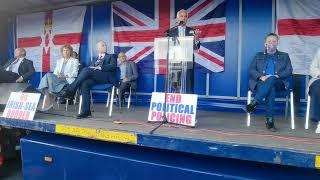 Ben Habib addresses the Anti Northern Ireland Protocol rally.