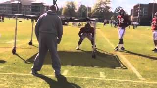 Watch Alabama DC Jeremy Pruitt work with inside LBs